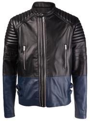 Men's Lamb Nappa Three Zip Leather Jacket - XL