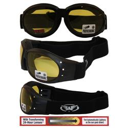 Motorcycle Goggles with Yellow-Smoke Polycarbonate Lenses.