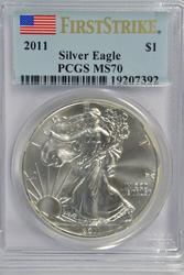 Perfect 2011 FIRST STRIKE $1 Silver Eagle. PCGS MS70