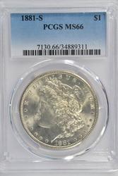 Superb PCGS MS66 graded 1881-S Morgan Silver Dollar