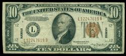 Nice 1934-A Series $10 Hawaii Federal Reserve Note