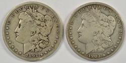 Two scarce Morgan Silver Dollars: 1892-S & 1903-S