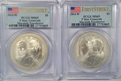 2 2013-W 5 Star Generals $1 First Strikes. PCGS MS69