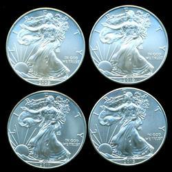 4 Different Superb Gem BU $1 Silver Eagles 2009-2015
