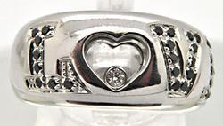 LADIES 18 KT WHITE GOLD DIAMOND 'LOVE' RING.
