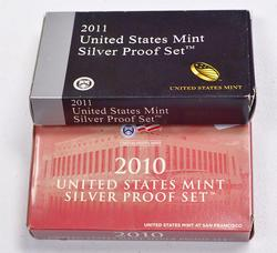 2010 and 2011 US Silver Proof Sets with original env