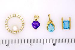 Lot of Four Beautiful Pendants, Amethysts, Blue Topaz, Pearl