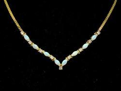 Really Pretty Diamond & Opal Necklace, 18.5in