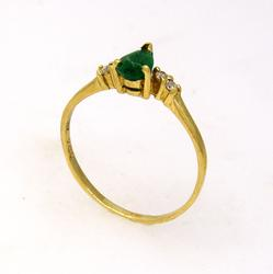 Emerald Ring with Diamond Accents, Size 5.25