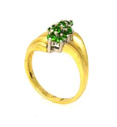 Chrome Diopside Cluster Ring, Size 5.5
