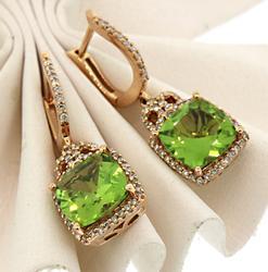 A Perfect Combination:Peridot, Diamonds &Rose Gold Ears