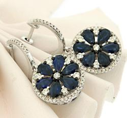 Enchanting Sapphire & Diamond Pinwheel Dangle Earrings