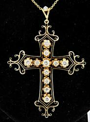 Ornate Vintage Cross with Diamonds