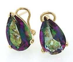 Yellow Gold Spectacular Mystic Topaz Earrings