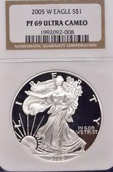 Proof American Silver Eagle, NGC PF69, 2005-W