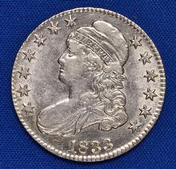 Lustrous AU/BU 1833 Bust Half Dollar, Looker