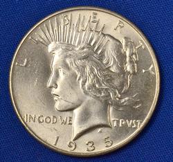 Semi Key 1935 Peace Dollar, BU