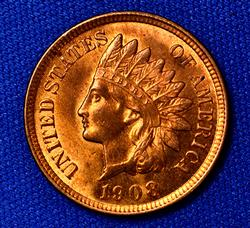 Choice Red BU 1908 Indian Cent