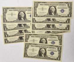 10 Assorted $1 CU Silver Certificates 6 1957 4 1957 B