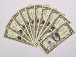 10 Consecutive $1CH CU Silver Certificates 1957