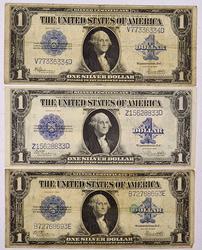 3 1922 $1 Silver Certs Woods &Speelman White