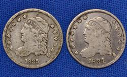 1834 and 1835 Bust Half Dimes