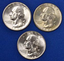 3 Sharp Gem BU Washington Quarters
