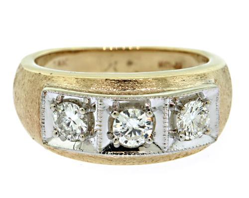 Fancy 3 Stone Diamond Two Tone Ring