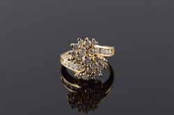 14K Yellow Gold 0.67 CTW Diamond Swirl Ring