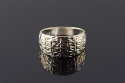 14K White Gold Dimpled Band Ring