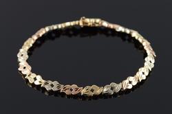 14K Yellow Gold 5.6mm Fancy Faceted Tri Color Link Bracelet