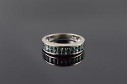 14K White Gold 1.00 CTW Marquise Blue Diamond Wedding Band Ring