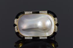 18K Yellow Gold Mother of Pearl Black Onyx 1.0ctw Diamond Pendant/Pin