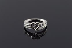 10K Yellow Gold 0.15 CTW Black White Diamond Heart Bypass Ring