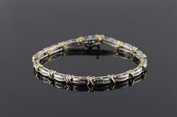 10K Yellow Gold 0.50 CTW Diamond Two Tone Criss Cross Bracelet