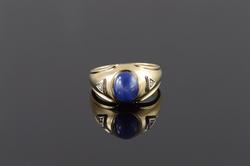 10K Yellow Gold 1.50 CTW Star Syn. Sapphire Diamond Inset Men's Ring