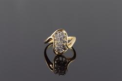 14K Yellow Gold 0.30 CTW Diamond Cluster Bypass Ring