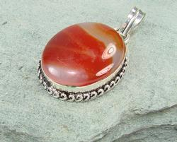 Exciting Large Natural Stone Ethnic Handcrafted Pendant