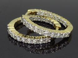 14K Yellow Gold Inside Out Diamond Hoop Earrings