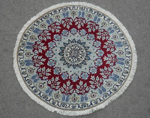 Beautiful Round Wool/Silk Persian Nain 3.3x3.3