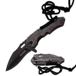 Tac Force Spring Assisted Knife 4.75in Stonewashed Bld/Hdle