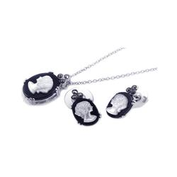 Pearl Black Onyx Cubic Zirconia CZ .925 Sterling Silver Jewelry Set