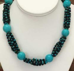 Chunky, Fabulous Turquoise & Black Beaded Necklace