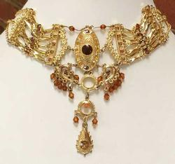 Romantic, Dangling, Elaborate, Gold Toned, Choker Necklace