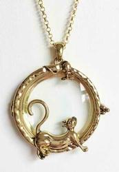 Cute & Functional, Cat & Mouse 'Magnifying Glass' Pendant Necklace