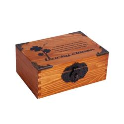 Wooden Retro Cosmetics Storage Box Jewelry Storage Box  With Lock #1