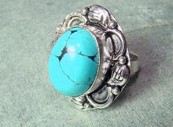 Fascinating Ethnic Handcrafted Large Natural Stone Ring