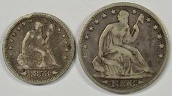 1853 Arrows & Rays Seated Quarter and Half Dollar