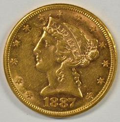 Semi-reflective 1887-S US $5 Liberty Gold Piece