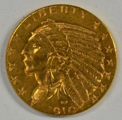 Very lovely 1910-D US $5 Indian Gold Piece